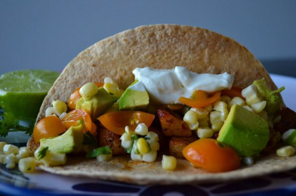 'Tato Tacos with Cilantro Lime Sweet Corn