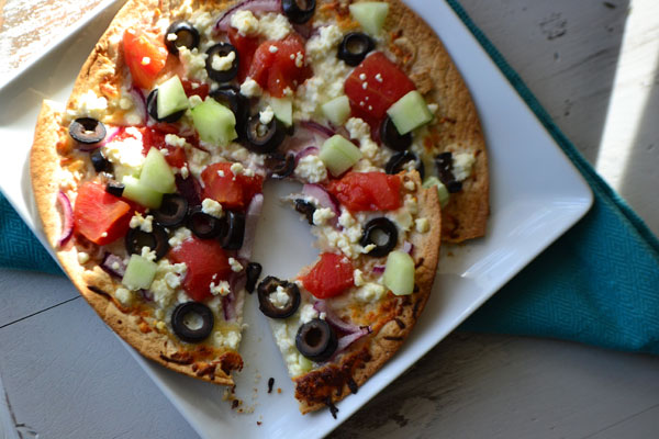 Greek tortilla pizza